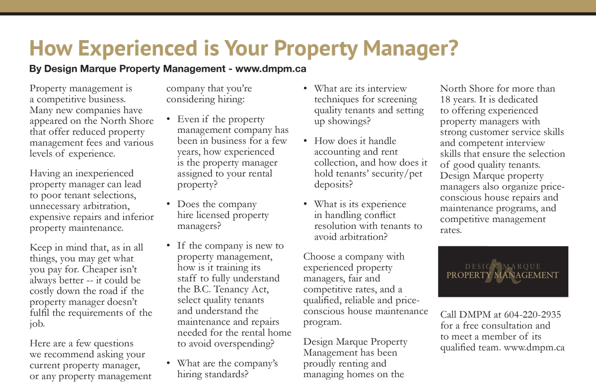 How experienced is your Property Manager